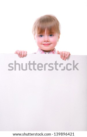 little girl holding a card board. smiling child. isolated on white. - stock photo