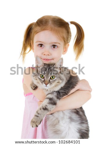 Little girl holding a cat  on white background - stock photo