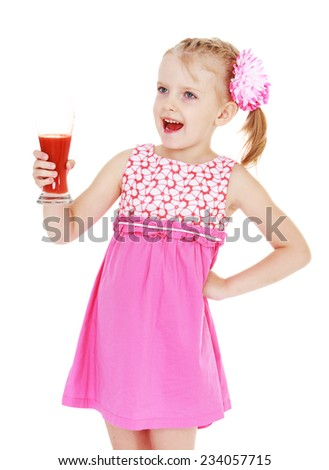 Little girl holding a glass in front of him with tomato juice is very good for health.Concept of healthy food.Isolated on white background. - stock photo