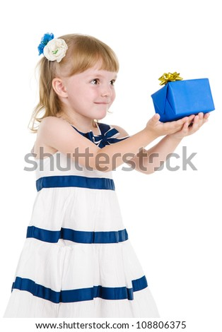 little girl holding and offering a gift. isolated over white background