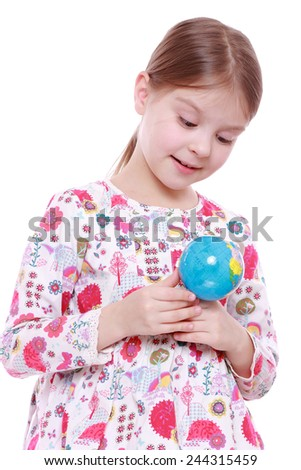 little girl holding and offering globe - stock photo