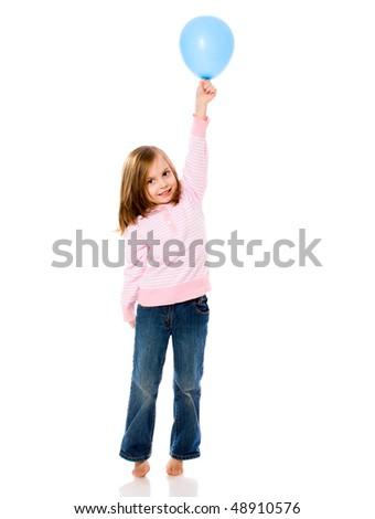 Little Girl Holding Balloon isolated on white - stock photo