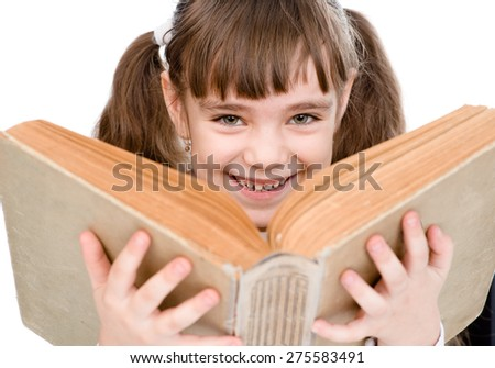 little girl holding big book. isolated on white background - stock photo