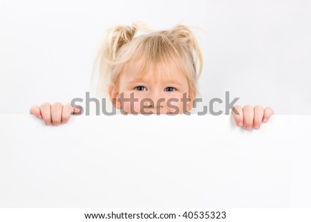 Little girl holding blank sign, on a white background