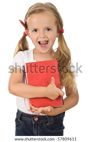 Little girl holding books preparing to go back to school - isolated - stock photo