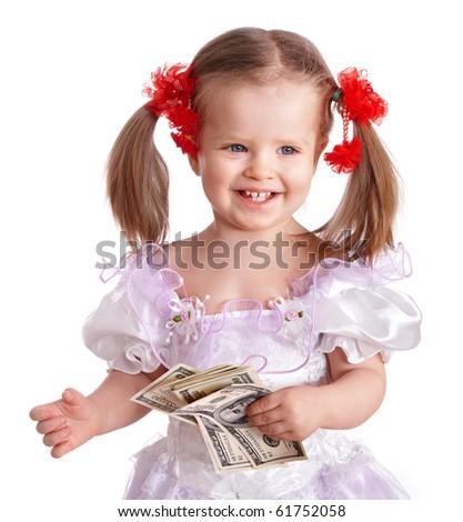 Little girl holding dollar  money.  Isolated. - stock photo