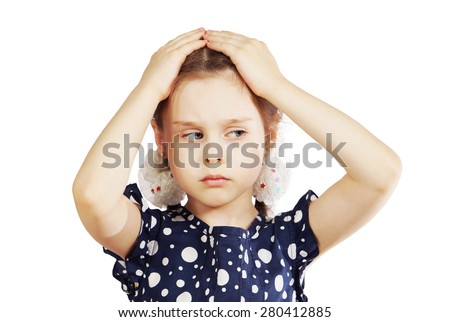 Little girl holding hands on the head - stock photo