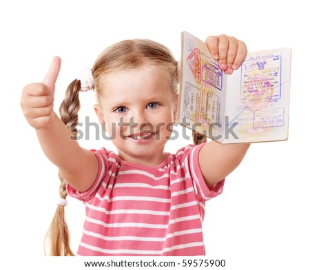 Little girl holding international passport and show thumb up. - stock photo