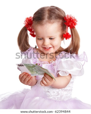 Little girl holding money euro in hand. Isolated. - stock photo