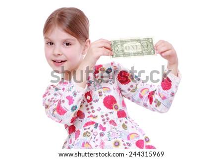 little girl holding one dollar  - stock photo