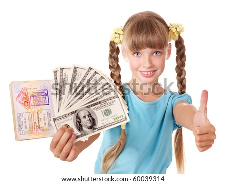 Little girl holding  passport and money. Foreign vacation. - stock photo