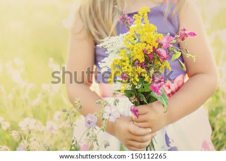 Little girl holding wild flowers bouquet on a grassy sunny summer meadow field - stock photo