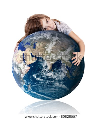 Little girl hugging the planet earth over a white background - stock photo