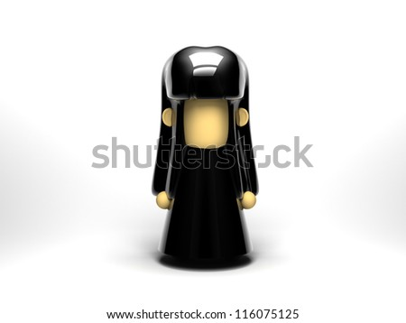 Little girl in a black dress, with black hair, white background
