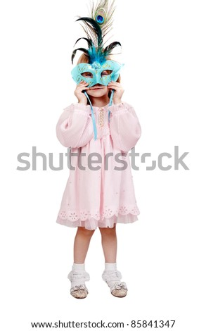 little girl in a blue mask in studio isolated on a white background