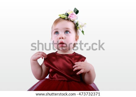 Little girl in a red dress on a white background