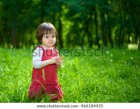 little girl in a red dress on nature
