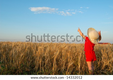 little girl in a wheat field - stock photo