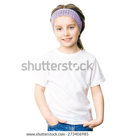 little girl in a white tshirt isolatet on a white background - stock photo