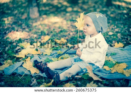 Little girl in autumn leaves  - stock photo