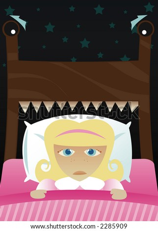 Little girl in bed, scared of the dark and imagining her bed's become a monster - stock photo