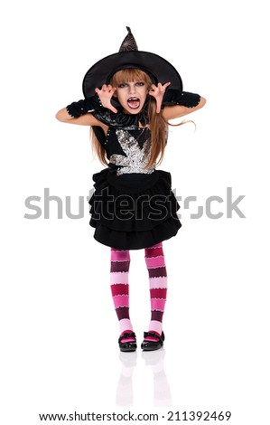 Little girl in black hat isolated on white background - stock photo