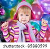 little girl in cap - stock photo