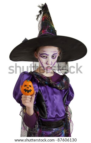 Little Girl In Carnival Costume Halloween Witch