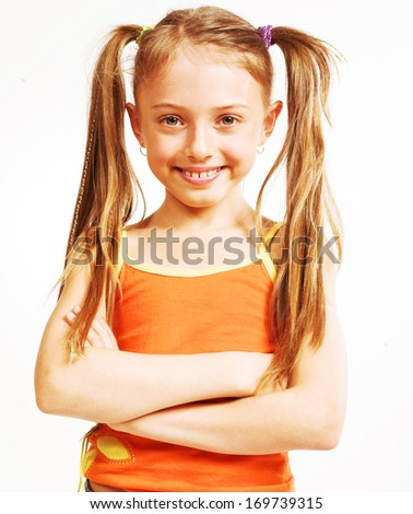 little girl in casual wear - stock photo