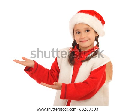 Little girl in Christmas hat with an empty hands, isolated on white