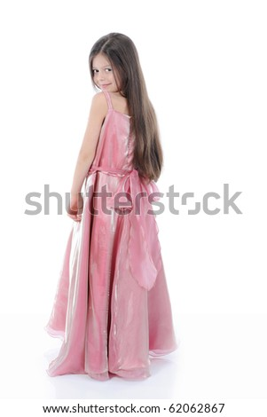 little girl in evening dress. Isolated on white - stock photo