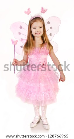 Little girl in fairy costume on a white background