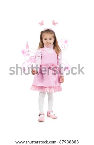Little girl in fairy costume on white background