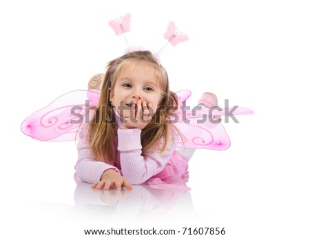 Little girl in fairy costume on white background - stock photo