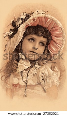 Little girl in her Easter bonnet - a Victorian illustration, circa 1899 - stock photo