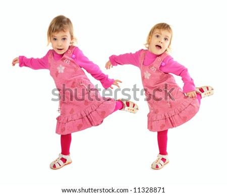 Little girl in pink dress dancing - stock photo