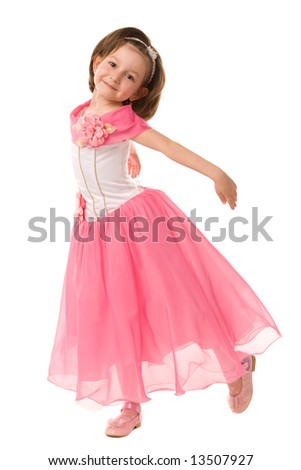 little girl in pink dress on a white background - stock photo