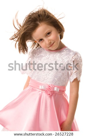 little girl in pink dress on a white background