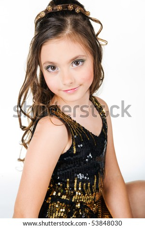 Little girl in princess costume on white background - stock photo