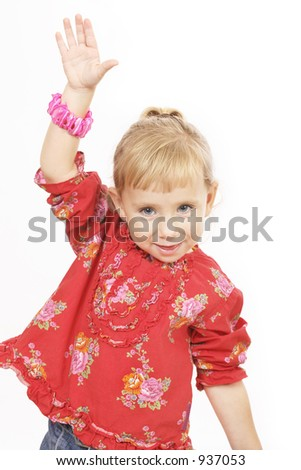 Little girl in red - stock photo