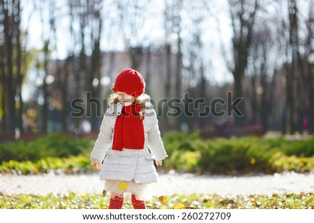 little girl in red cap - stock photo
