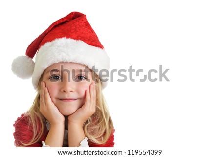 little girl in red santa hat on white background. portrait - stock photo
