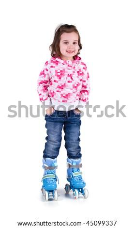 Little girl in roller skates. Studio shot - stock photo