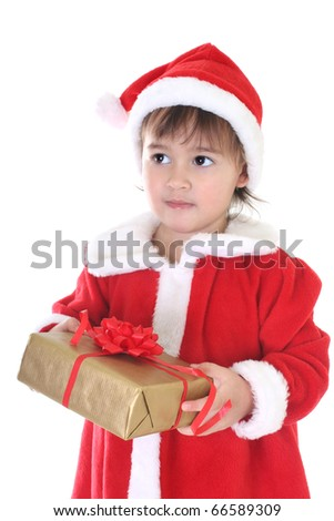 Little girl in santa clothes with gift over white