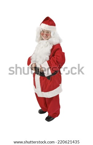 Little Girl In Santa Costume Smiling/ Santa Is For The Young At Heart/ Isolated On White