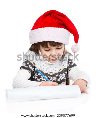 little girl in Santa hat writes letter to Santa. isolated on white background - stock photo