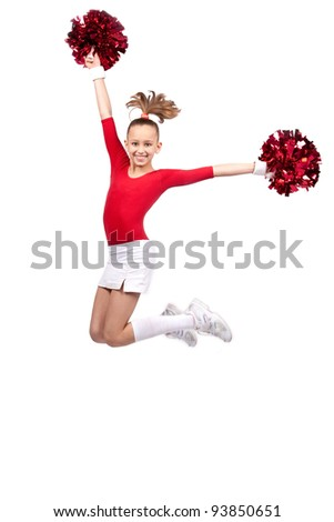 little girl in sportswear with pompoms jumping smile
