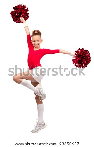 little girl in sportswear with pompoms make exercise a smile - stock photo