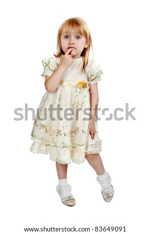 little girl in studio isolated on a white background
