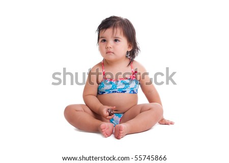 Little girl in swimming suit